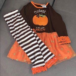 Emma Rose Pumpkin Dress and leggings set